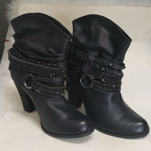 Not Rated Black 10 Bead Accent Leatherette Bootie